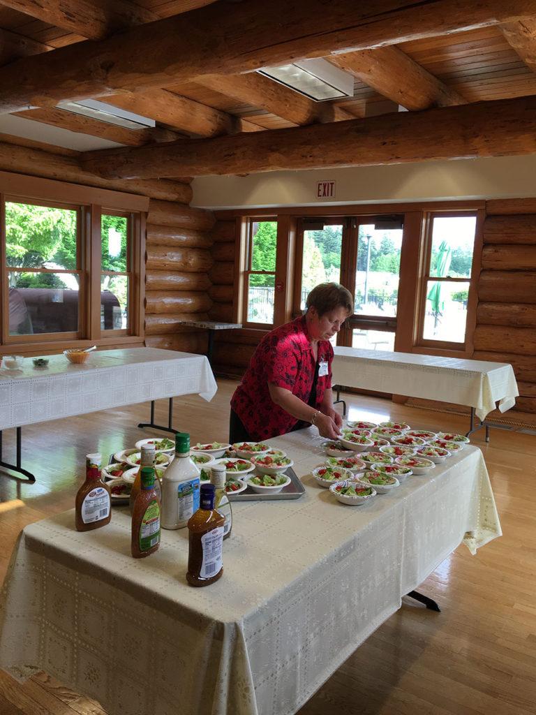 Fresh salads were part of the menu.