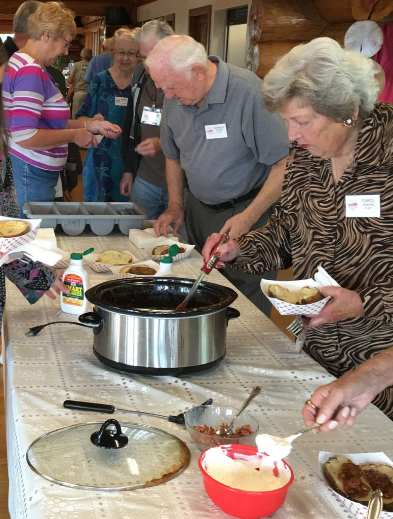 Everyone enjoyed loading up their baked potatoes with goodies